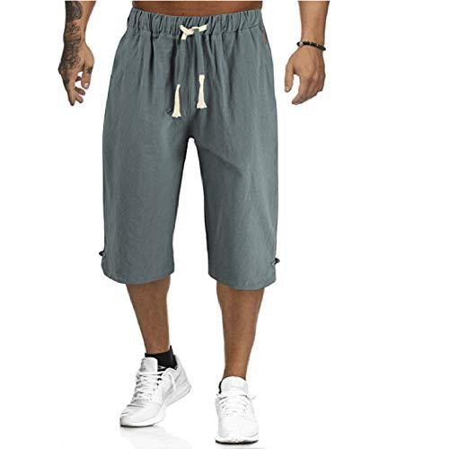 WXZZ Capri - Pantalones cortos para hombre, color liso, algodón y lino, pantalones cortos para dormir, con cordones y hebilla, tallas grandes 3XL Verde militar. XXXL
