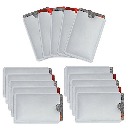Owfeel Pack de 15 Bloqueo RFID Secure Credit Card Holder Identificación de tarjeta de crédito Anti-robo Protector de prueba de agua Titular seguro
