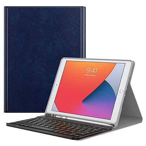 MoKo Tangentbordsfodral kompatibelt med nya iPad 8. Generation 10,2 tum 2020/iPad 7. Gen 2019, trådlöst tangentbord skyddsfodral med Apple Pencil hållare fodral för iPad 10.2 2020/2019, Indigo