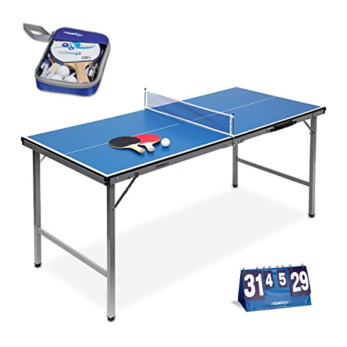 Relaxdays 3 teiliges Tischtennis Set XXL, Schlägerausrüstung 2 Sterne mit 2 Tischtenniskellen, 3 Bällen und Netz, Klappbare Tischtennisplatte für Ping-Pong, Zählgerät