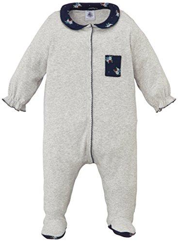 Petit Bateau Baby - Mädchen Schlafstrampler Dors Bien, Einfarbig, Gr. 56 (Herstellergröße: 1M/54Cm), Grau (Beluga 54)