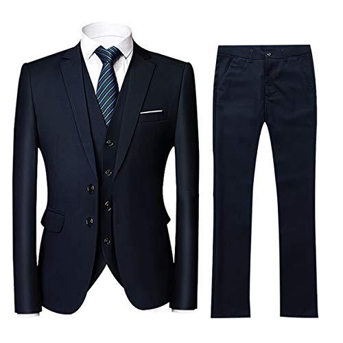 Costume Homme 3 Pièces Slim Fit Smoking Deux Boutons Couleur Unie Mariage Business Confort Elégant Veste Gilet et Pantalon, Bleu Royal, XXL