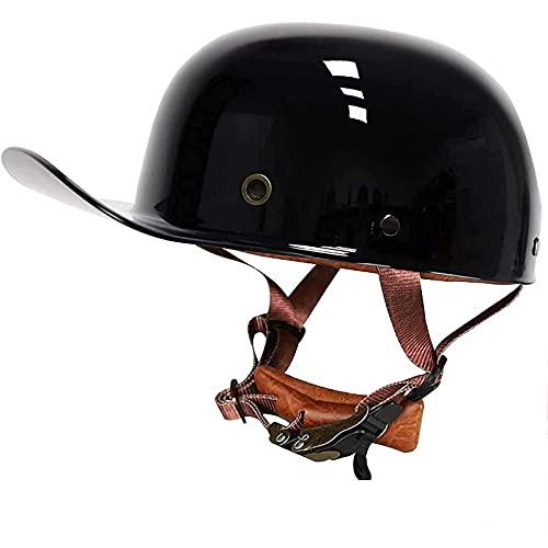 QHHALXZ Casco de Motocicleta Retro Gorra de béisbol de Moda Casco de Cara Abierta Retro Casco de Calavera Casco de Chorro Casco de Cuenco para Adultos para Cruiser Scooter eléctrico Chopper Cicl