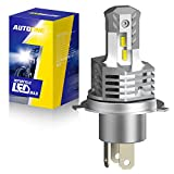 AUTOONE H4 LED Motorcycle Headlight Bulbs, 6000LM High Low Beam 9003 Hi/Lo HB2 Conversion Kit for Motorbike Headlamp, 6000K Cool White, 1 Bulb