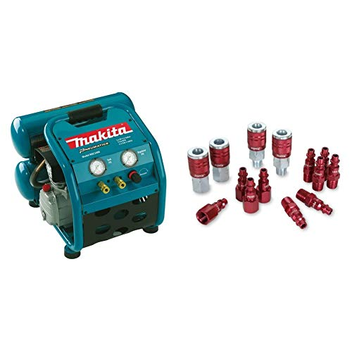 Makita MAC2400 Big Bore 2.5 HP Air Compressor & ColorConnex Coupler & Plug Kit (14 Piece),...