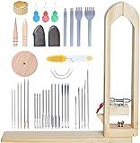 Poweka - Herramientas de costura de piel, pinzas de cuero de madera de poney con agujas de coser de cuero y sello de cuero para artesanía de cuero DIY