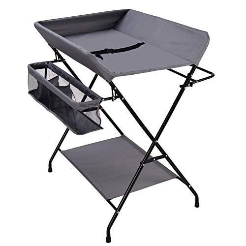 Table À Langer Plateaux De Rangement pour Table À Langer Pliable Portable Rangement pour Bébé - Gris Foncé - 80cm (L) X 63cm (L) X 96cm (H)