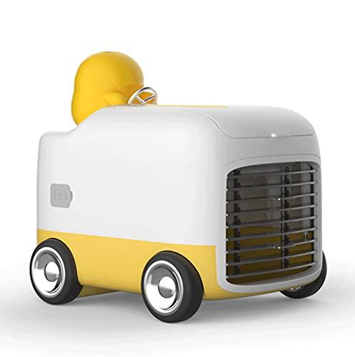 JNOI Mini escritorio, ventilador de automóviles, ventiladores de humidificador portátiles de viaje, refrigerador de aire de nebulización personal con 3 velocidades, ventilador de mesa recargable, para