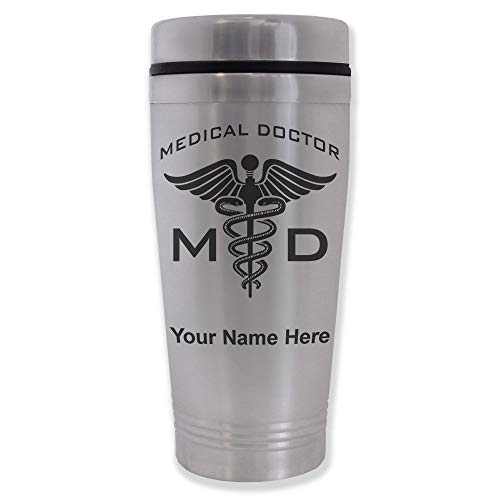 Commuter Travel Mug, MD Medical Doctor, Personalized Engraving Included