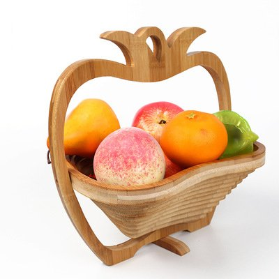 Homemums Wood Color All-Natural Bamboo Folding Collapsible Fruit Basket (Apple)
