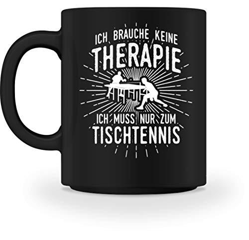 shirt-o-magic Tischtennisspieler: Therapie? Lieber Tischtennis - Tasse -M-Schwarz