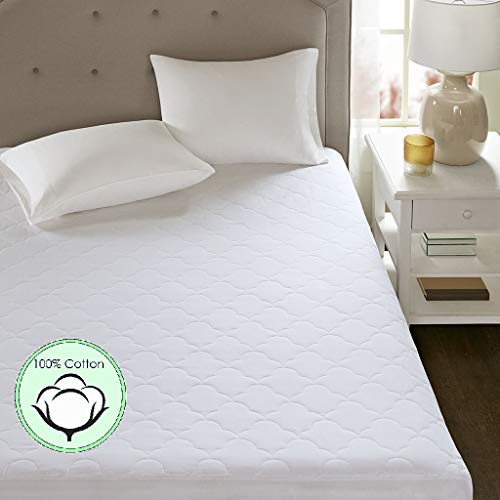 Sleep Philosophy All Natural Cotton Percale Quilted Mattress Pad with Spandex Snug-on Slip Fit Skirt White Queen