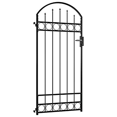 Tidyard Single Door Fence Gate with Arched Top Heavy Duty Powder Coated Steel Garden Door Fence Practical Barrier Wall with 3 Matching Keys for Outdoor Patio Terrace Black 39.4 x 78.8 Inches (W x H)
