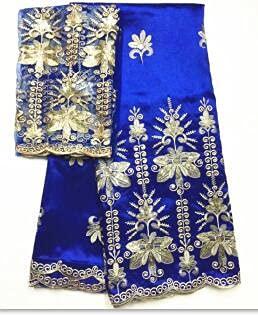 FATEGGS Tela de encaje elástica de 5 yardas+2 yardas George Lace Tela de seda George Tela de lentejuelas azul real George Wrapper con blusa de encaje de red para ropa (color: LX1500610G7)