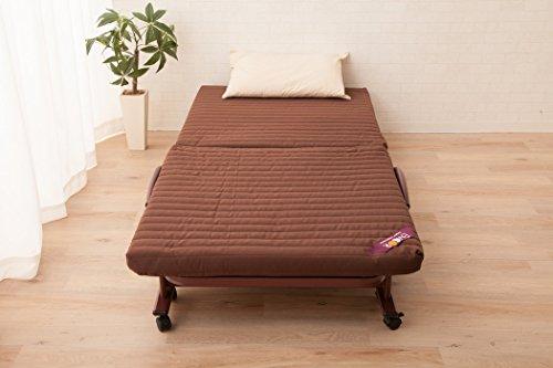 エムール組立不要リクライニング付き折りたたみベッド『メホール』セミシングルビターブラウン