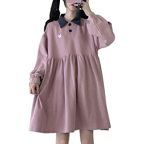 Packitcute Teen Girls Cute Dress Long Sleeve Lolita Casual Plus Size Comfy A-Line Dresses (Pink)