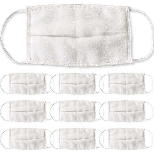 マスク10枚入ガーゼマスク防塵マスク水洗い可能綿100%(ホワイト,大人用)