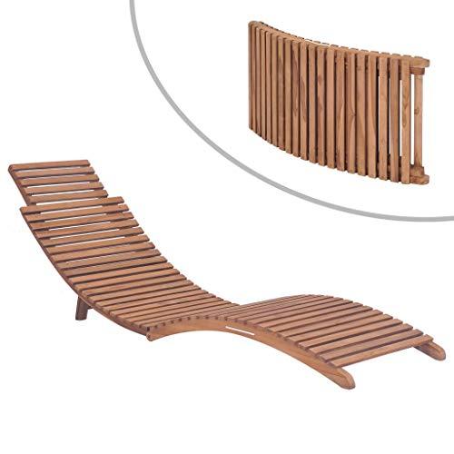 Tidyard Sonnenliege Klappbar Liegestuhl Ergonomisch Gartenliege Holziege Liege Strandliege Massivholz Teak 175 x 50 x 55 cm