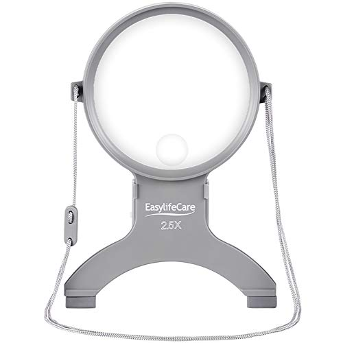 EasyLifeCare Hands Free Chest Rest LED Magnifier - Neck Wear Visual Aid Illuminated Magnifying Glass...