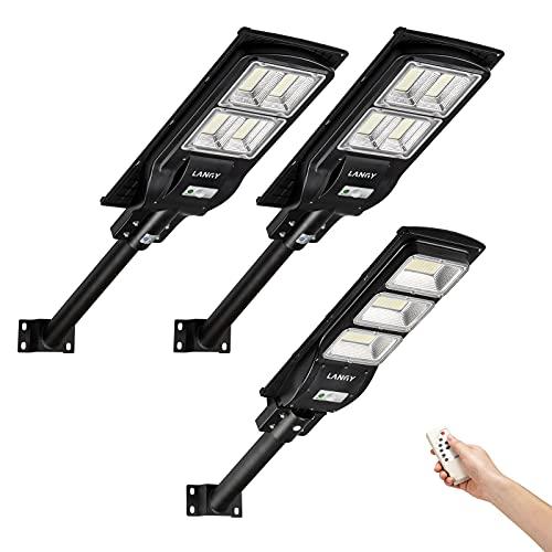 Solar Street Light Combo,2 Pack120 watts +1 Pack 90 watts Solar Street Lights Outdoor