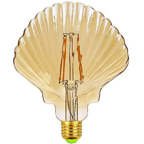 TIANFAN Lampadine a Led Lampadina Vintage φ 125mm Conchiglia Crystal Golden Glass 4W 220 / 240V E27 2500K Lampadina Led Edison Bianco Caldo