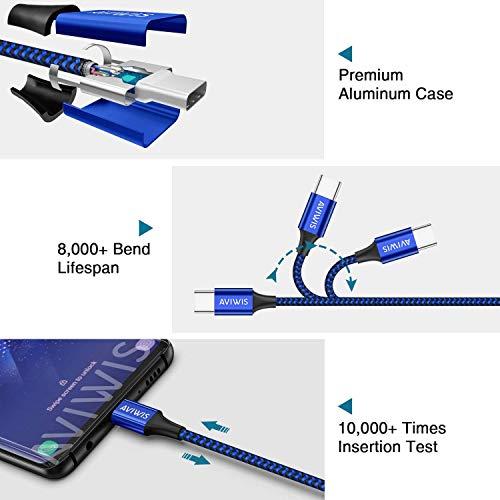 AVIWIS USB Typ C Kabel [4Pack 0.5M 1M 2M 3M] 3A Nylon USB C Ladekabel Fast Charge Sync Schnellladekabel Kompatibel für Samsung Galaxy S10/ S9/ S8, Huawei P20/ Mate20, OnePlus 6T usw -Blau