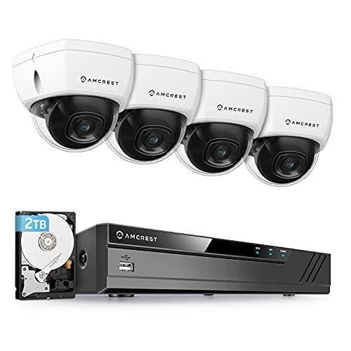 Amcrest 4K 8CH Security Camera System w/ 4K (8MP) NVR, (4) x 4K (8-Megapixel) IP67 Weatherproof Metal Dome POE IP Cameras (3840x2160),Pre-Installed 2TB Hard Drive, NV4108E-HS-IP8M-2493EW4-2TB (White)