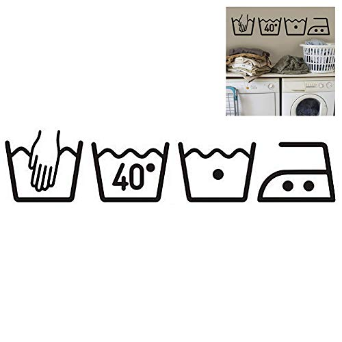 Faviye Wasmachine Muursticker 3D Creatief Verwijderbare Wasserij Symbolen Sticker voor Utility Room