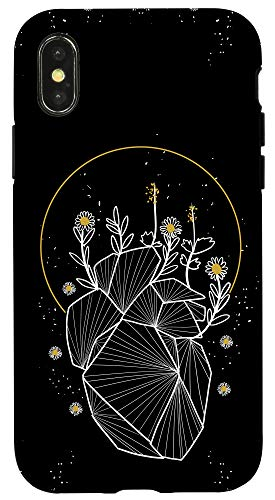 iPhone X/XS Moon Line Geometric Anatomical Heart Flowers Space Art Gift Case