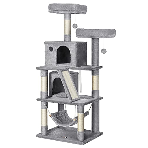 FEANDREA Cat Tree, Cat Tower with 2 Cat Caves, Hammock, 61 Inches, Cat Activity Center with Scratching Posts and Board, Light Gray UPCT163W01