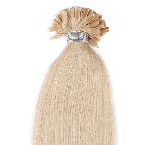 Beauty7 50 Extension de Cheveux Humain Naturel Utips Pose a Chaud Raides/Droits/Lisse 100% Remy Hair Poids 25g - 0.5g/meche - 20inch (50cm) - Couleur Blond Tres Clair #613