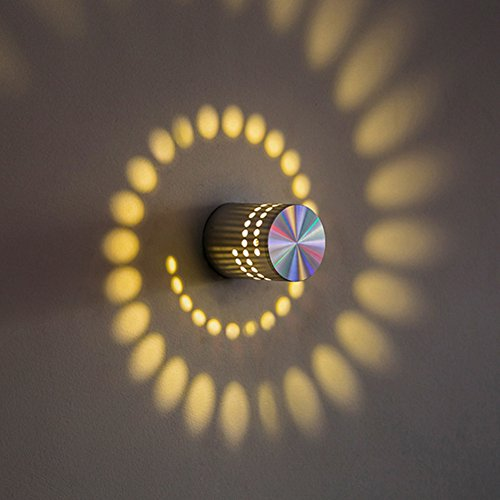 Lámpara de techo con efecto de espiral, 3 W, LED, lámpara de pared, lámpara de escalera, regulable, para interior, pasillo, salón (blanco cálido)