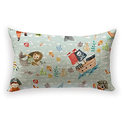 Reebos Funda de cojín de lino y algodón lumbar pirates and vikings para sofá hogar decorativo rectangular 30 x 50 cm