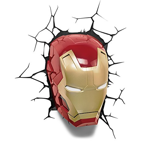 Marvel Comics - Lampe Applique Murale en forme de Masque Iron Man 3D