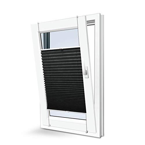 KINLO Plissee Jalousien Rollos für Fenster ohne Bohren verdunkelung Easyfix klemmträger verspannt 90x220cm schwarz Verdunkelungsrollo Klemmfix sonnenschutz für Fenster & Tür