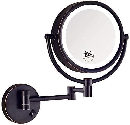 GJX Espejo Maquillaje Cuarto de baño Plegable Espejo for afeitarse, montado en la Pared del LED Extensible cosmético Ligero Espejo de Pared de Doble Cara 8 Pulgadas 10x Negro