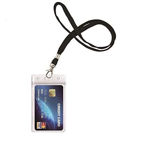 ID Card Badge Holder with Heavy Duty Lanyard for Key, ID Card, Name Tag, Credit Card, Business Card, Access Card Holder by Ahobson (1Pack Black Lanyards)