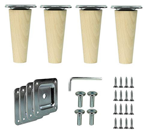 Prima Online 4x Holzfüße Möbelfüße Sofafüße Buche Holzbeine gerade Länge 10cm Buche Holz Oberfläche sauber (Gerade [10 CM])