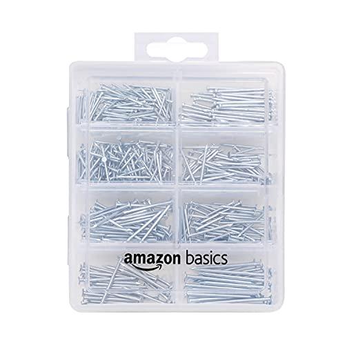 Amazon Basics – Nagel-Set, mit Senkkopf-Nägeln, Drahtstiften, gewöhnlichen Nägeln, Drahtnägeln und Bilderrahmen-Nägeln, 550Stück