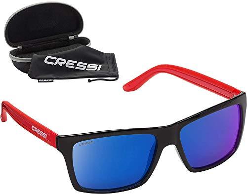 Cressi Rio Sunglasses Gafas de Sol Deportivo Polarizados, Unisex Adultos, Rojo Negro/Lentes espejadas Azul, Talla única