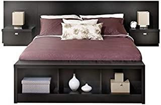 Prepac Series 9 Platform Storage Bed with Floating Headboard in Black - King, Bench not included