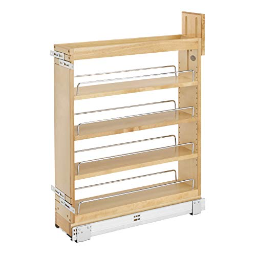 Rev-A-Shelf 448-BCSC-5C 5 Inch Pullout Soft Close Kitchen Cabinet Storage Organizer, Wood Construction with Extra Durability