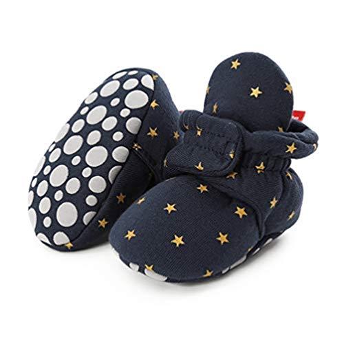 EDOTON Botas de Niño Calcetín Invierno Soft Sole Crib Raya de Caliente Boots de Algodón para Bebés (6-12 Meses, D_ Estrellas Azules Oscuras)