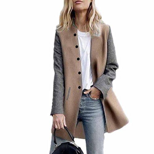 Longra Damen Trenchcoat Lang Mantel mit Tasche Damen Winterjacke Parka Cardigan Frauen Wasserfallkragen Wollmantel Übergangsjacke Outdoorjacke Lang Jacke (M, Gray)