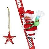 Climbing Ladder Santa with Jingle Bells Music, Allnice Christmas Decorations Christmas Tree Ornament Ladder-Climbing Santa Claus (Mask Version)