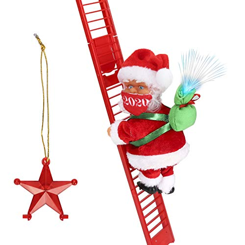 Climbing Ladder Santa with Jingle Bells Music, Allnice Christmas Decorations Christmas Tree Ornament Ladder-Climbing Santa Claus (Mask Version)