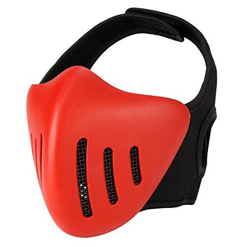 Aoutacc Airsoft Masks,Knight Half Face Metal Mesh Masks Hard Plastic Masks,Masquerade Ball, Party Halloween Cos Mask,Cs War Game (Red)