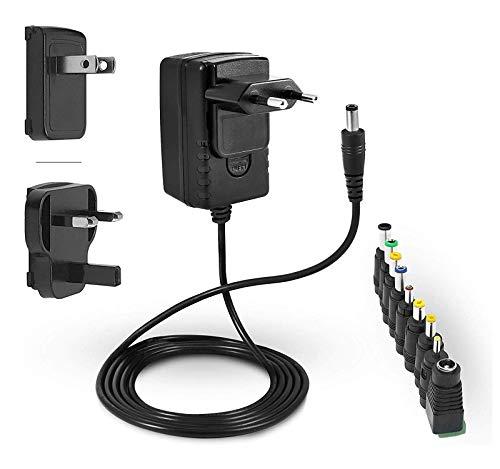 LEICKE Fuente de alimentación ULL 12V 2A | 2000mA | Certificación TÜV | Cargador 24W con 9 cabezales de adaptador diferentes para dispositivos electrónicos pequeños: LCD, router WLAN, interruptor