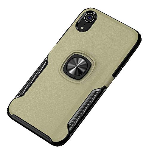 Rugged Flexible Protection case Phone Case Shockproof Car Magnetic Case with 360 Degree Gold Armor Ring for iPhone XR (Color : Gold)