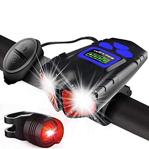 Daniel Fahrradlichtset, Frontlicht-Rücklichtkombinationen, USB Wiederaufladbar, Super Helles Fahrradlicht Vier Beleuchtungsmodi,1